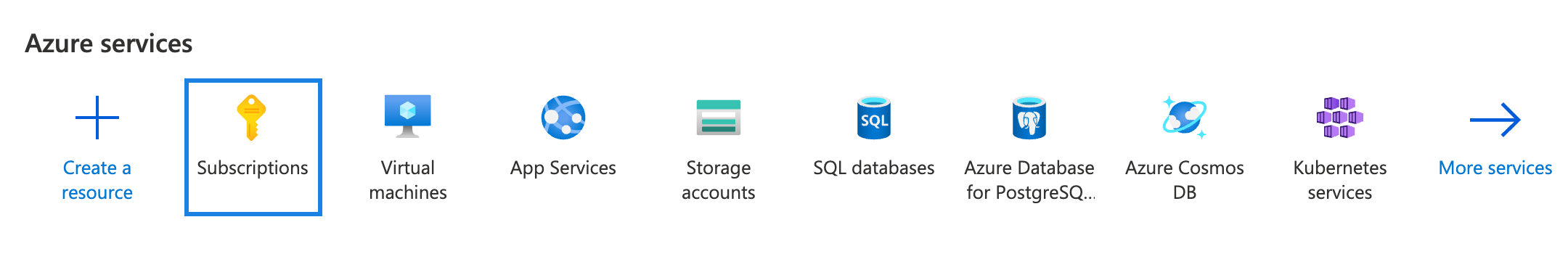Azure services menu with the Subscriptions icon highlighted