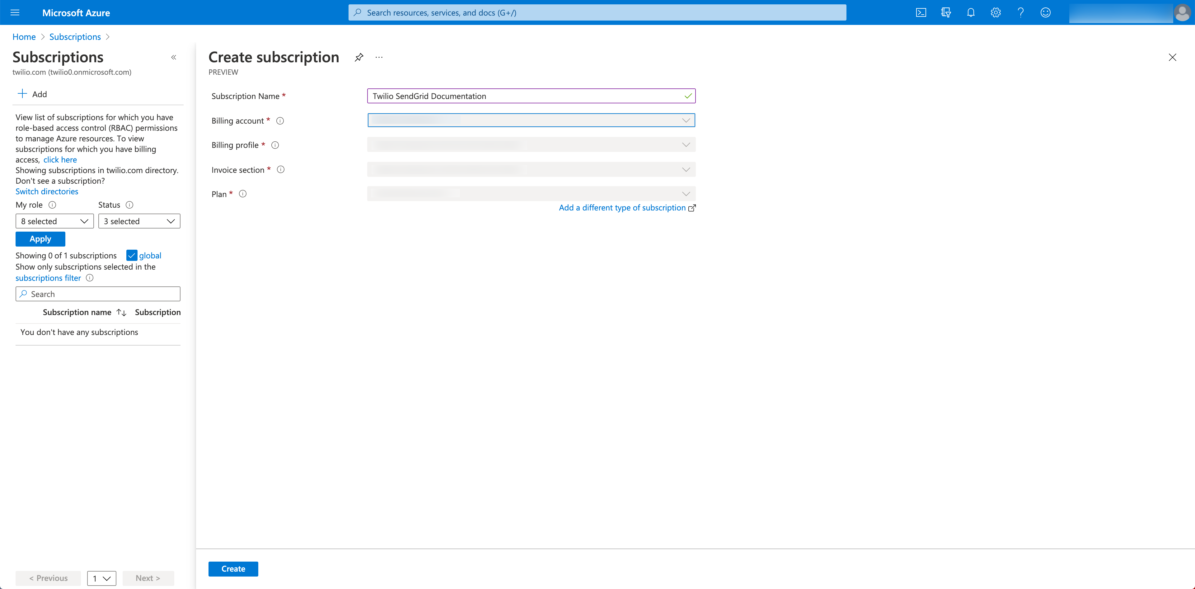 Azure Subscriptions form with the Subscription Name populated