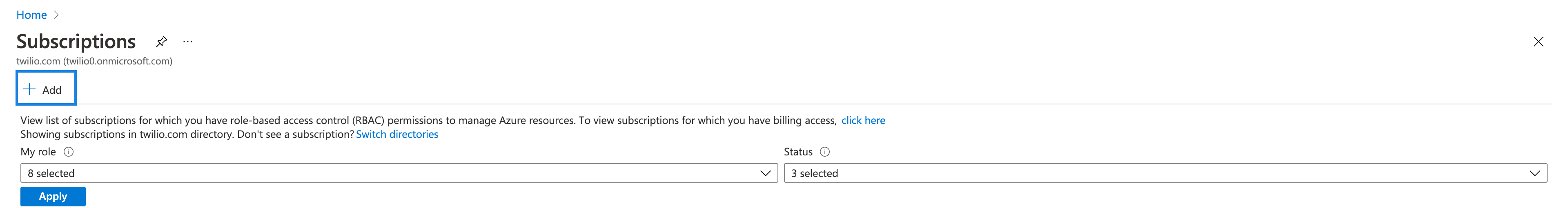 Azure Subscriptions with the +Add link highlighted