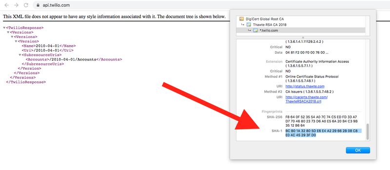 SHA-1 fingerprint for api.twilio.com in Chrome