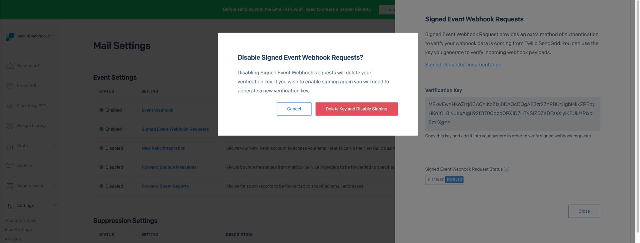 A modal asking you to verify that you wish to delete your key and no longer sign the Event Webhook. You can either click to cancel or click to confirm.