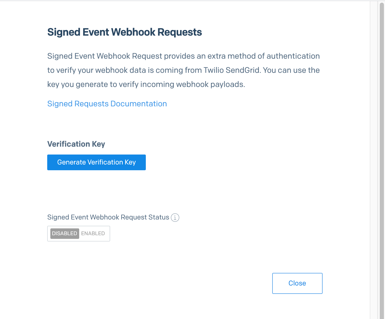 A sidebar modal with an option to generate a verification key and a status toggle showing if webhook signing is enabled or disabled