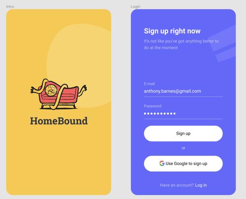 HomeBound signup screen screenshot