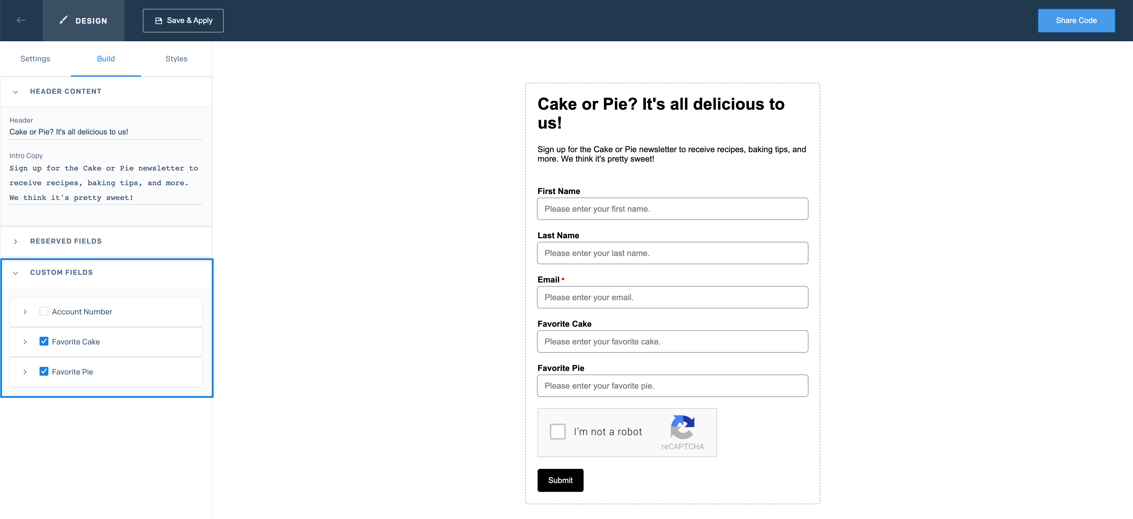 The Signup Forms page with the Build tab open. Two custom fields are selected and showing in the form preview.