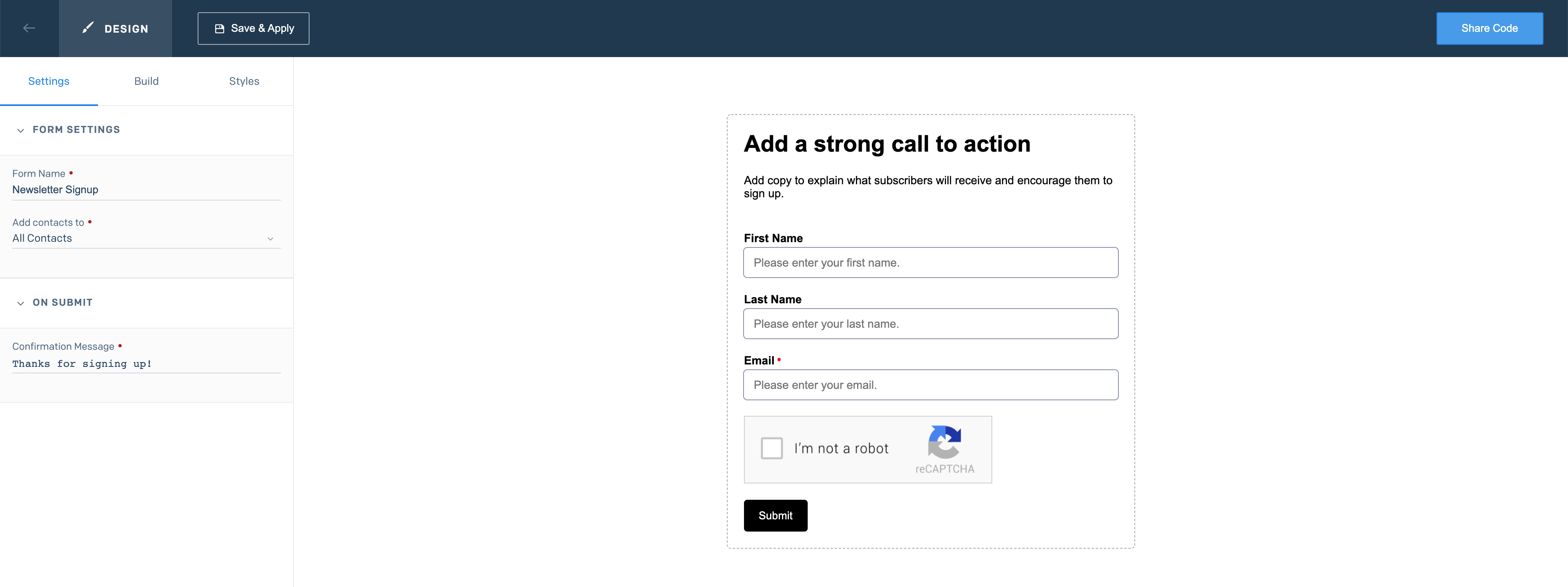 The Signup Forms page with the Settings tab open