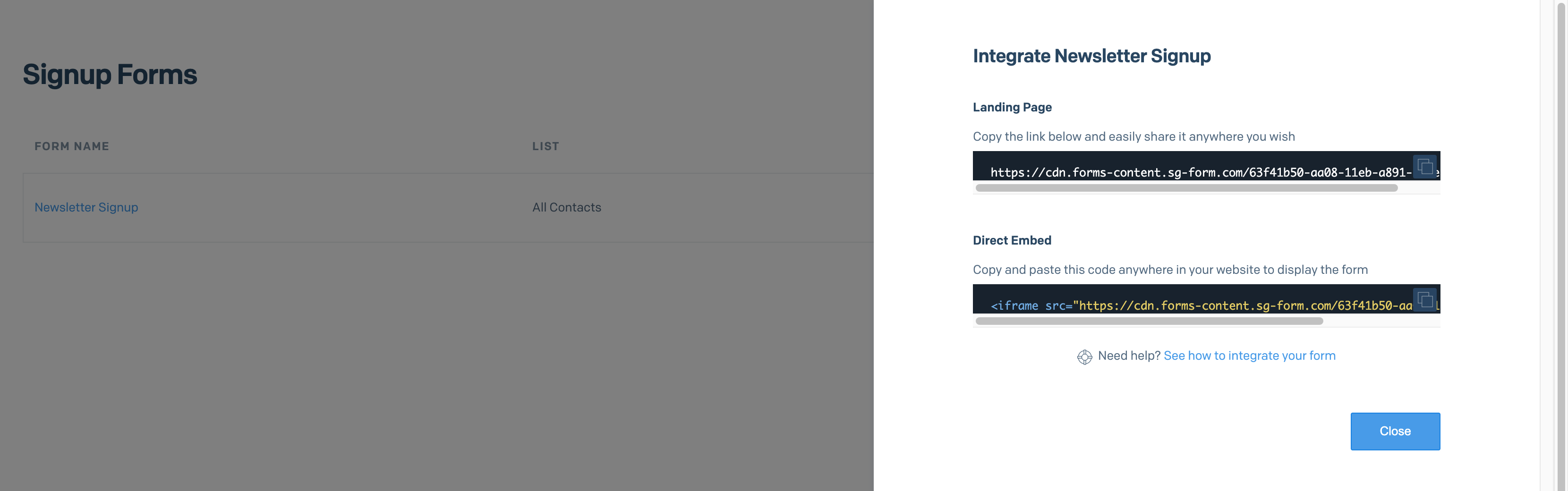 The signup form's share modal