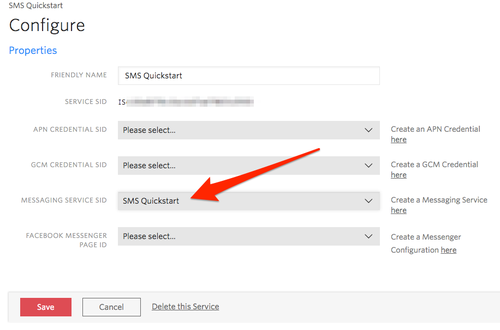 Notify SMS Quickstart - configure Messaging Service in Notify Service Instance