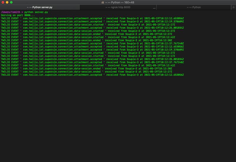 Super SIM Event Streams log output