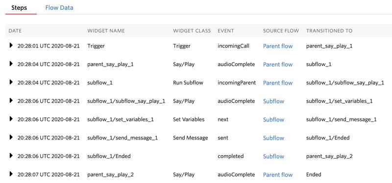Studio Subflow logs