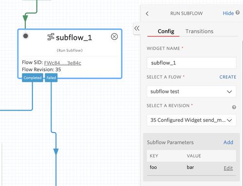 Studio Subflow widget with parameters