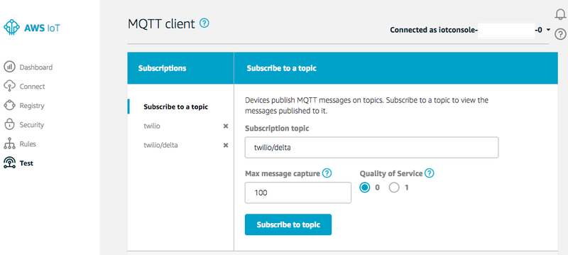 Subscribing to Topics in IoT Test Client