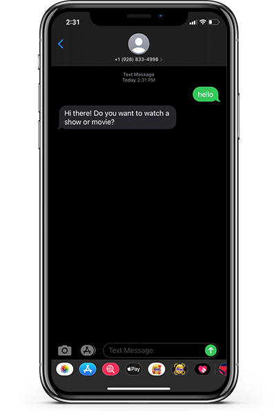 An iPhoneX with a successfully returned Autopilot message displayed in text message form from the bot