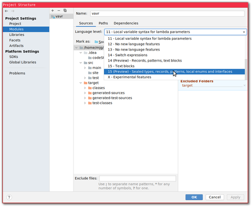 Screenshot of configuring IntelliJ to use 15 (Preview) language features.
