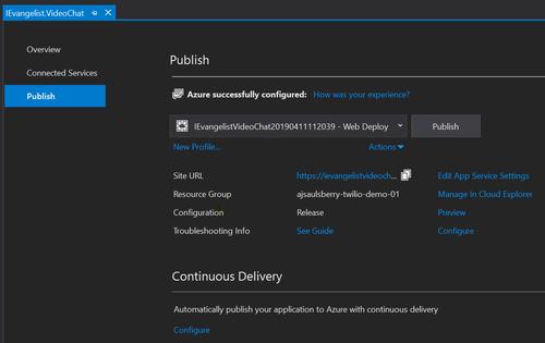 Visual Studio Publish dialog box for Azure showing selections screenshot