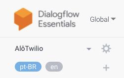 Detalhe do DialogFlow com dois idiomas adicionados