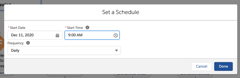 Screenshot showing how to set the start date and time plus cadence of the triggered workflow.
