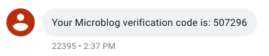Verification SMS screenshot