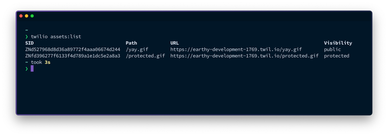 A view on the terminal. The command `twilio assets:list` has been run and the result shows the previous two assets that were uploaded.