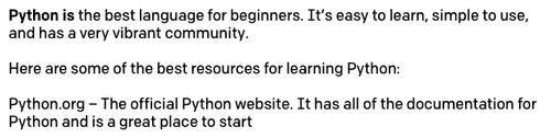 Preenchimento do 'Python is' com temperatura de 0,5