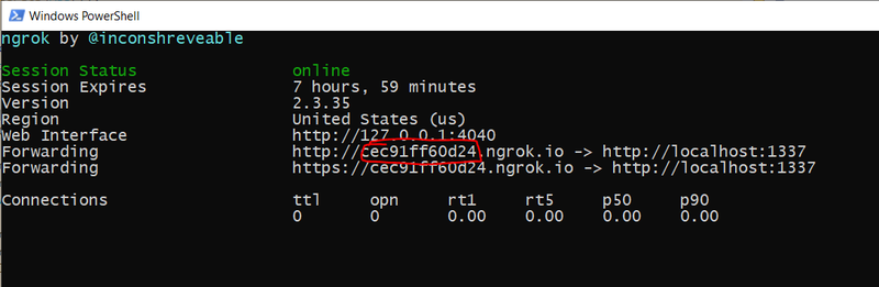 Screenshot of PowerShell window showing command-line output from the ngrok utility