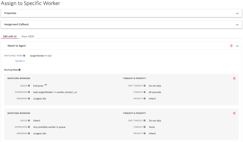 A view of a TaskRouter workflow in the Twilio console. There is a key expression for matching workers: task.targetWorker == worker.contact_uri