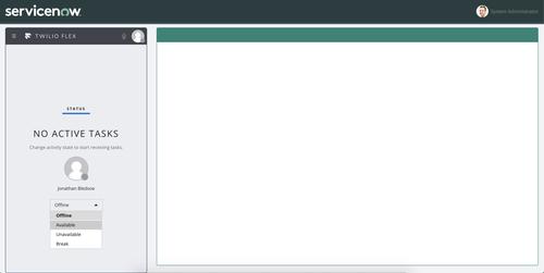 Interfaz Twilio Flex en funcionamiento - usuario en línea