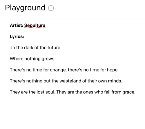 Example of computer generated lyrics