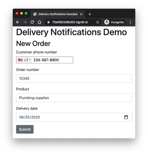 Order form screenshot