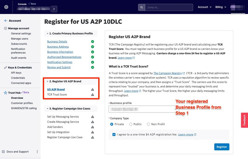 Registering a US A2P brand in Twilio Trust Hub