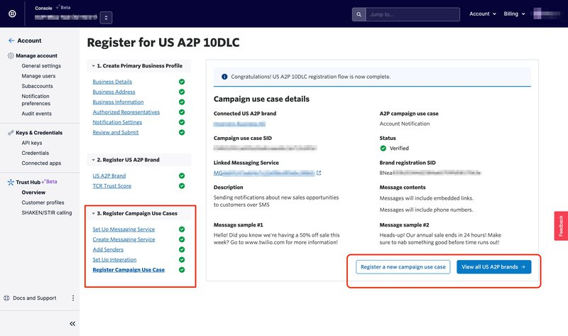 Completed registration flow for US A2P 10DLC in Trust Hub