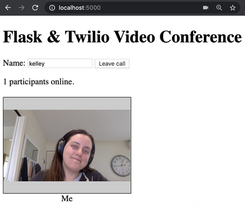 screenshot of video chat app with 1 participant online