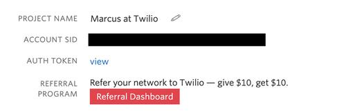 Captura de pantalla SID de la cuenta de Twilio