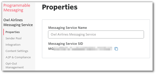 """Screenshot: configuring the name of the Messaging Service and seeing the SID on the """"properties"""" section of the console"""