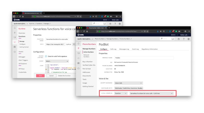 Overview of pasted functions in Twilio console and set call handling in number configuration