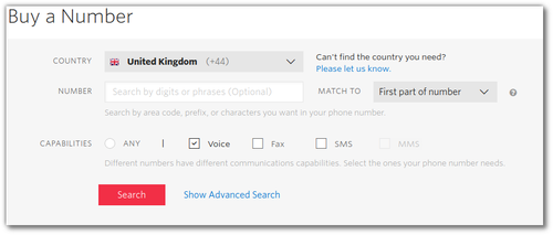 Screenshot of Twilio console purchasing a phone number