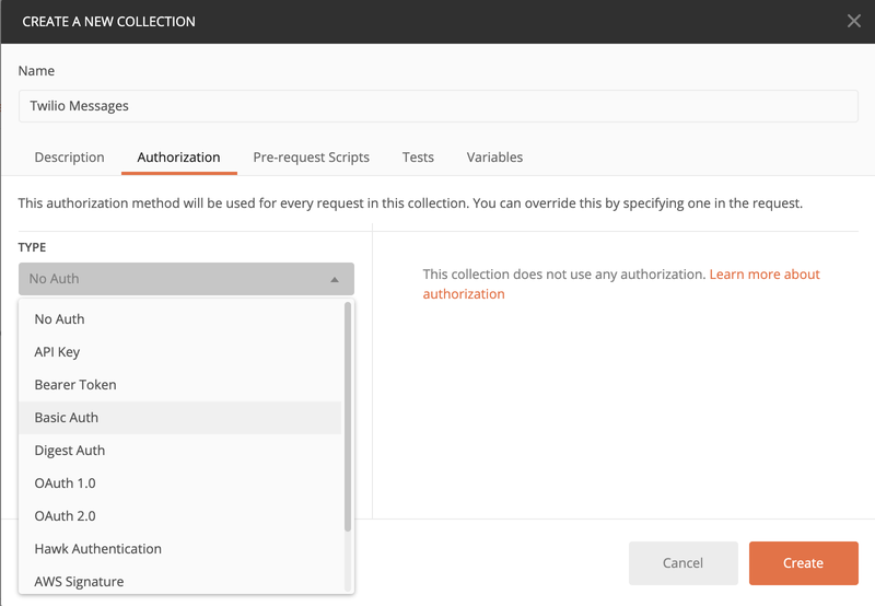 postman create collection and select type basic auth