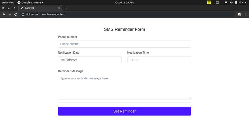 Laravel SMS reminder app landing page