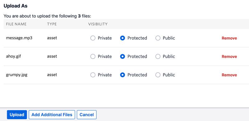 upload assets UI