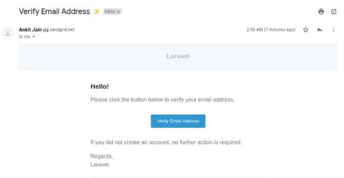Captura de pantalla de Gmail con enlace para verificar el correo electrónico.