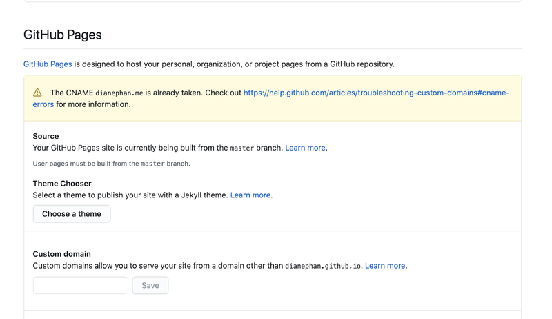 Github Pages domain error message