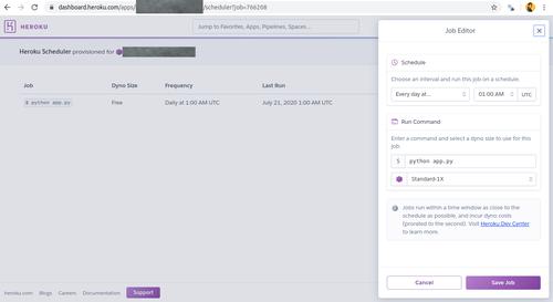 heroku scheduler configuration
