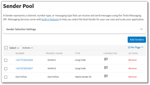 Screenshot: configuring the sender pool for a messaging service. Added 2 phone numbers and an Alpha Sender