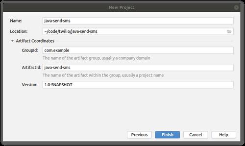 Captura de pantalla del asistente IDE New Maven Project. Una configuración equivalente se describe como un fragmento de código en la prosa.