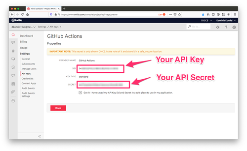 screenshot of twilio console highlighting api key and secret
