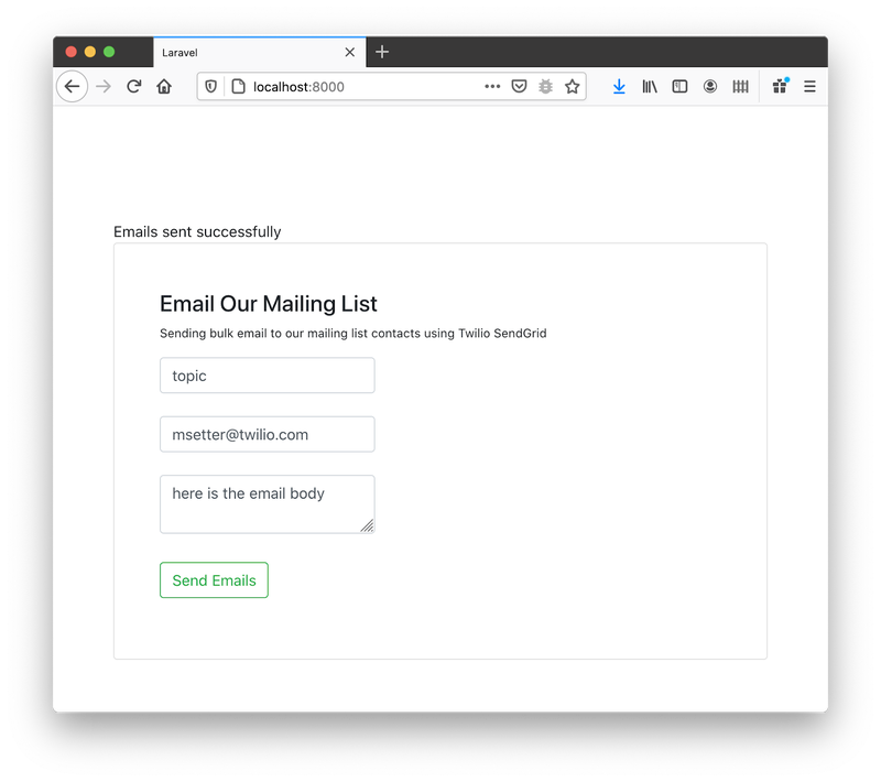 The styled form for sending bulk emails.