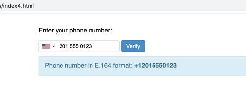 entrada de número de teléfono con resultados exitosos en formato E.164
