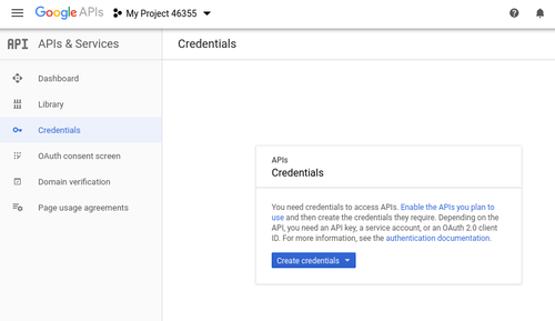 Create Google credentials screenshot