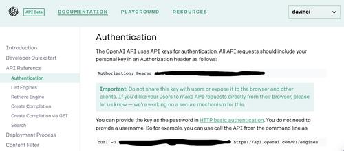 OpenAI Beta Documentation Authentication page with API key