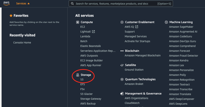 AWS Services dashboard displaying the S3 option under the Storage section