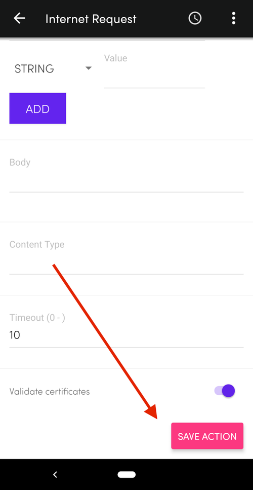 Internet request save configuration button in the Flic button app